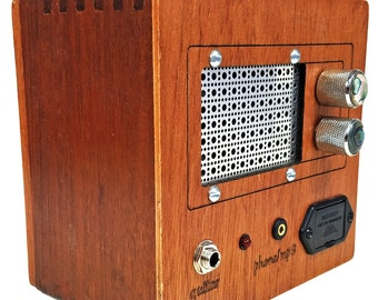 """Vintage-Style """"UHF TV"""" Solid Wood Acid Cigar Box Amplifier - For use with both Guitars and Smartphones!  (Product # 52-006-32)"""