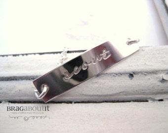 Hand Stamped Jewelry . Personalized ID Bracelet . Hand Stamped Bracelet . Name Bracelet . Brag About It . Brag Bracelet