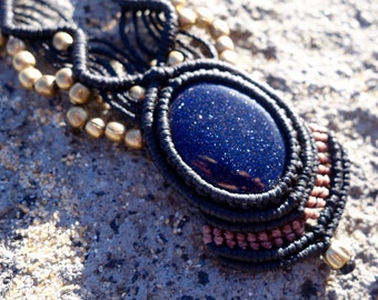 Blue Goldstone Macrame Necklace | Temple Design | Stone of Prosperity | Micro-Macrame | Unisex, Healing Crystal Jewelry