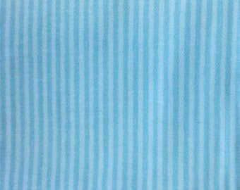 100% Cotton Fat Quarter Fabric, for quilting and fabric crafting - in two tones aqua thin stripes - Ready 2 Ship