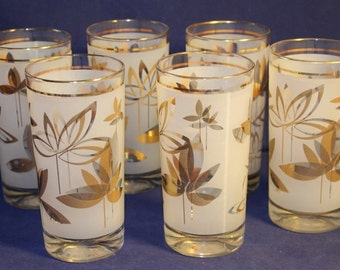 Vintage Frosted Glass Tumblers with Gold, Weighted Bottoms, Set of 6, 1960's