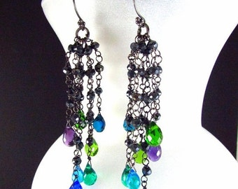 25% Off Summer Sale Colorful Quartz, Amethyst and Pyrite Wire Wrapped Oxidized Dangle Cluster Earrings