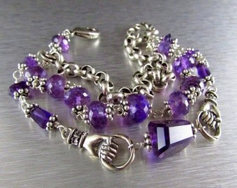 25% Off Summer Sale Three Strand Amethyst And Silver Bracelet