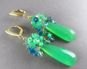 End Of Summer Sale Chrysoprase With Apatite And Sky Blue Quartz Cluster Gold Filled Earrings