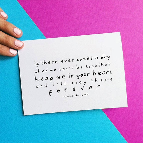 romantic anniversary card winnie the pooh quote notecard keep me in your heart forever birthday card romantic card sympathy note card