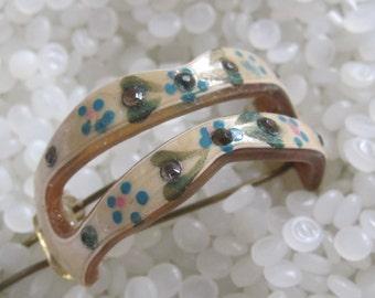 beautiful  ponytail holder vintage barrette, vintage 1930 cellulose, paste rhinestones, blue painted flowers,