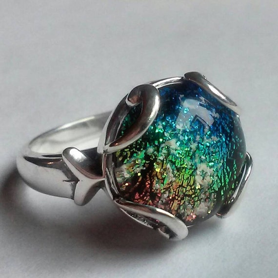 Cremation jewelry ring sterling silver ashes by infusionglass for Cremation jewelry for pets ashes