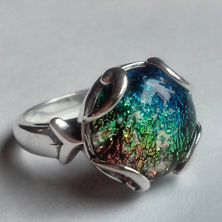 cremation jewelry ring sterling silver ashes by infusionglass