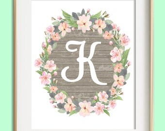 Letter K Printable, Instant Download, Baby Girl Nursery Wall Art, Girl Nursery Decor, Floral Monogram, Pink Mint Gray Letter Art, Baby Gift