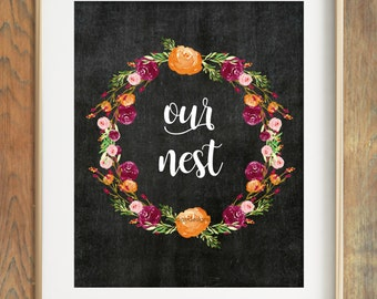 Our Nest Printable, Our Nest Chalkboard Art, Instant Download, Autumn Fall Printable, Wedding Gift, Chalkboard Printable, New Home Gift