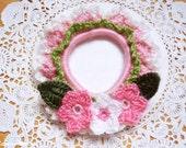 Crocheted Hair Scrunchie - Sakura Cherry Blossoms - Pink