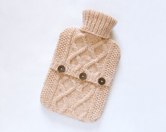 Hot water bottle cover / sweater - 100 per cent Scottish wool - Apricot. Hand Knit Bottle Cosy / Cozy.
