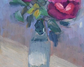 """Rose Painting, Daily Painting, Small Oil Painting, """"The Last Rose"""", 6x8"""" Oil"""