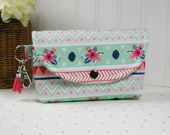 Large Snap Pouch with Clip and Tassel Charm, Pouch with Tassel, Organizer Pouch... Aztec Floral