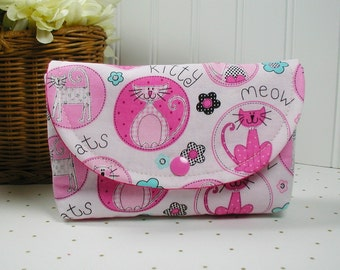 Snap Pouch, Large Snap Pouch, Cosmetic Pouch, Accessory Pouch... Kitty Cat in Pink