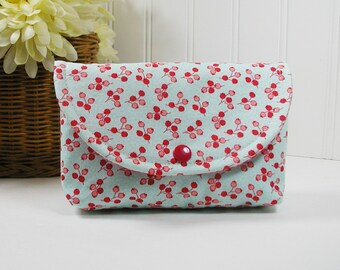 Snap Pouch, Large Snap Pouch, Accessory Pouch ...Little Ruby Tulip in Aqua