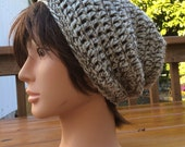 Natural Wool Crocheted Slouch Hat 14/15