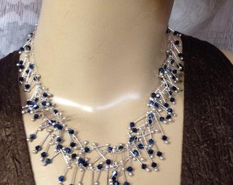 "Metalic blue Long Silver necklace Swarovski crystals -silver ""Sticks"" Handmade-Funky-double necklace"