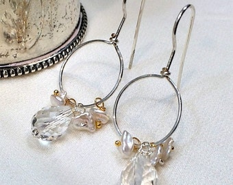 VALENTINES SALE Silver Hoop Earrings Gemstone Wire Wrapped Clear Quartz Earrings, Keishi Pearl Minimalist All in One Hoop Everyday Earring