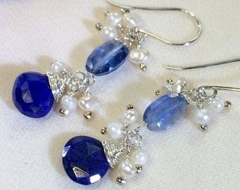Sapphire Blue Kyanite Earrings Wire Wrap Sterling Silver Pearl Cluster September Birthstone Kyanite Blue Lapis Jewelry Doolittlejewelry