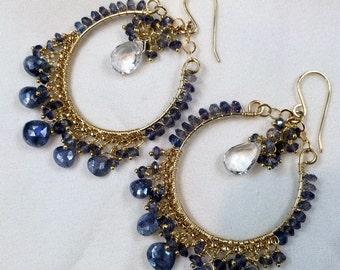 Blue Hoop Earrings Gold Hoop Earring Blue Chandelier Hoop Gemstone Chandelier Blue Sapphire Beaded Hoop Boho Chandelier Ready to Ship
