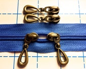 Antique Bronze Tear Drop Pulls for 5mm Zipper by the yard w/ 2 yds. Navy Coil