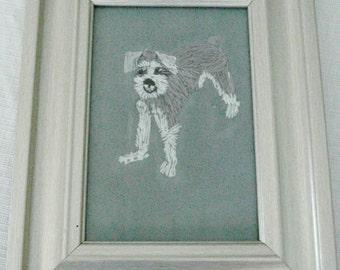 Schnauzer Dog Portrait, Hand Embroidered