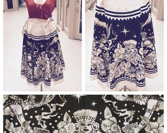 Fantastic 1950's Hand Painted Sequined Mexican Circle Skirt - Medium - Adjustable in Size!