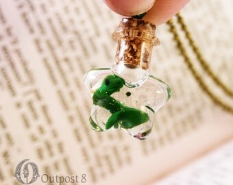 Green Dragon Glass Bottle Necklace