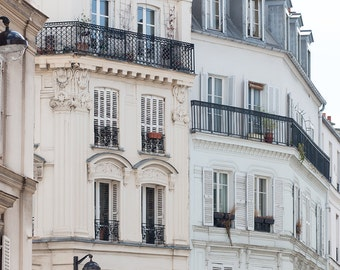 Paris Photography, Light Chasing in Montmartre, Parisian Balcony, French, soft blue and grey tones - French Decor - Paris Wall Art