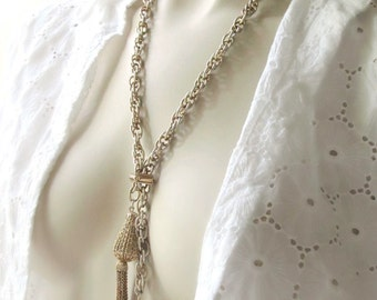 24 inch lariat tassel slide vintage park lane gold tone necklace