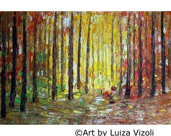 Fall Landscape Oil Original Painting on Large Canvas Ready to Ship Modern Impressionist