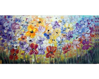 Original Painting on Canvas Large Flowers Abstract Spring Floral Impasto Oil Art by Luiza Vizoli 42x21