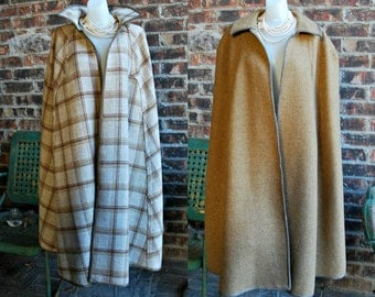 Vintage Reversible Wool CAPE Poncho Plaid and Camel Color, Long, Collar