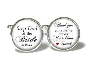 Step Dad of the Bride Cufflinks, Step Dad of the Bride Tie Clip, Wedding Cufflinks, Style 665