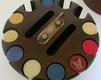 Vintage Bakelite Gaming Poker Chips  with Wood Holder Box Polo Fleur dis lis Horse shoe Eagle 200+ Chips