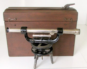 Vintage Starrett Transit with Ground level Vial, Surveyors Transit, Surveyors Scope Original Dovetailed Oak Box