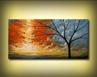original painting lollipop tree art acrylic abstract painting landscape wall art colorful acrylic 24 x 48