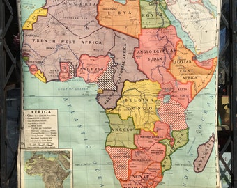 Vintage School Political Map of Continental Africa 1940s