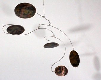 Copper Mobile Large Ovals - US SHIPPING INCLUDED Kinetic Art Mobile Sculpture - Ready To Ship  24w x 20t - 112615-1