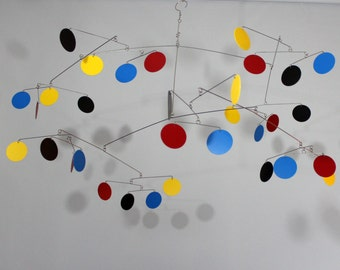 Hanging Mobile Lively Style 2, Classroom Mobile, Nursery Mobile, Kinetic Art Circle Mobile Sculpture by Carolyn Weir - 40w x25t