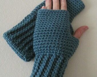Crocheted Fingerless Gloves / Wrist Warmers - Dusty Blue