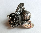 Vintage Sterling Silver Bee Brooch Smaller Bee Pin Detailed More Bees Please