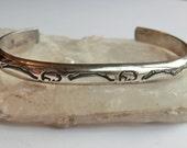 CUSTOM ORDER for V SALE Vintage Southwest Sterling Cuff Bracelet Buffalo Stamped Designs Longhorn Artist Mark