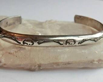 Vintage Southwest Sterling Cuff Bracelet Buffalo Stamped Designs Longhorn Artist Mark