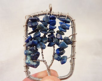 Lapis Lazuli Chunk Bead Pendant Wrapped with Silvertone Wire