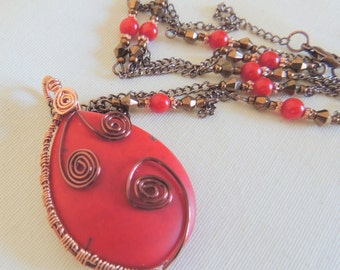 Red Howlite Pendant, Red Necklace, Copper Wire Wrap, Long Necklace, Handcrafted Jewelry, Gemstone Jewelry, Red and Copper, Boho Jewelry