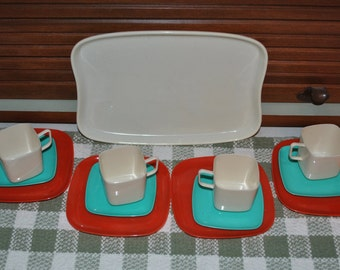 Mid Century Square Plastic Childs Dishes Orange Turquoise Cream