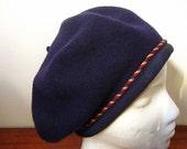 Hold for KJOHNSON Vintage 80s Donna Karan DKNY Blue Wool Beret with Ribbon Trim