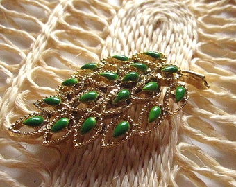Vintage 50s Gerry Brooch Gold Leaf with Green Petals